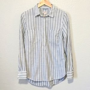 Merona Striped Button Up Long Sleeve Shirt